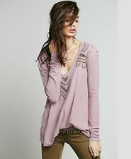 Rare Free People Plum Moonrise Cutwork Thermal Shirt Small