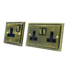 Georgian Antique Brass 1 Gang / 2 Gang Socket - 13A Single / Double Plug Outlet