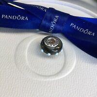 Authentic Genuine Pandora Black Grey Seeing Spots Murano Glass Charm #790631