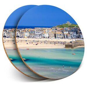 2 x Coasters - Porthminster Beach St Ives Cornwall  #46157