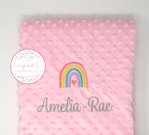 Personalised Baby Blanket, Pastel Rainbow Pink Girl Gift, Custom Embroidered