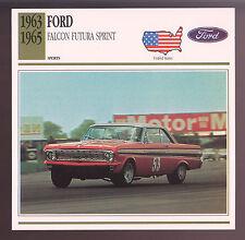 1963 1964 1965 Ford Falcon Futura Sprint Car Photo Spec Sheet Stat Info CARD