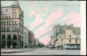 YORK PA Postcard West Market Street Rupps C H Bear Company Antique Town View VTG