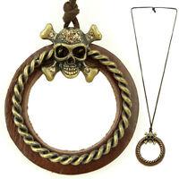 COLLIER pendentif sautoir homme ou femme CUIR anneaux tête de mort strass doré