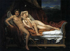 Nice Oil painting Jacques Louis David - Angel Cupid and Psyche on Bed canvas