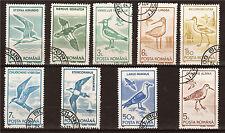 RUMANIA 9 sellos matasellados pájaros mares ,aves acuáticas, 1M29a