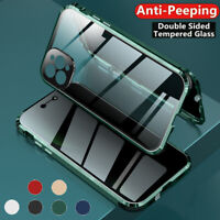 360 Magnetic Tempered Glass Case For iPhone 12 11 Pro Max Anti Spy Privacy Cover