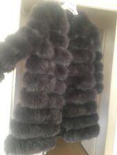 Real Fur Fox Coat Fashion Trendy Women  Dark Grey Coat Transformer Size 12-14