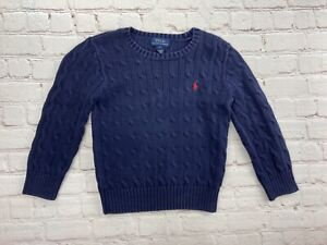 Polo Ralph Lauren Boys Cable Knit Sweater Navy Blue Crewneck Pullover Size 5