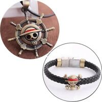 New Cosplay Anime One Piece Luffy's Straw Hat Metal Pendant Necklace+Bracelet A0