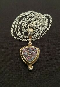 Sajen sterling silver druzy pendant necklace