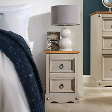 Corona Pine Grey Bedside Cabinet 2 Drawer Bedroom Drawers Side Table Nightstand