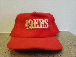 Vintage 1980's San Francisco 49ers NFL Corduroy Snapback Starline Hat Cap Red