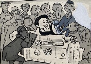 Werner Klemke: Rundfunk - Signierte Original Tusche u. Aquarell 1951 - Karikatur