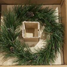 NEW Boxed POTTERY BARN FROSTY PINE  WREATH holiday Christmas 21""