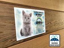 Pet Cat memorial plaque, Feline bench plaque, Garden grave marker, Personalised.