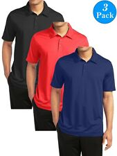 Men's Short Sleeve Moisture Wicking Polo Shirts Lounge Running Gym 3-PACK NEW