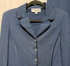 St. John Collection Womens Sz 8 10 2 Pc Suit Knit Jacket Pants Blue USA Made EUC