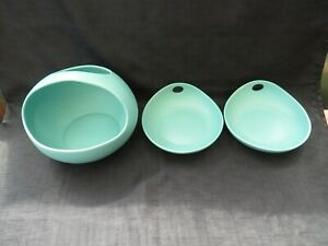 Ceramic Shallow Serving Bowl Nesting With Thumb Hole Set Of 3