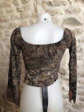 C&A CLOCKHOUSE chemise haut court manche longue polyester imprimé noir gris T 38