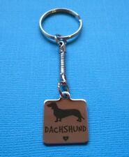 Dachshund Charm Keyring Dog Metal Bag Key Ring Silver Tone Heart Doxie Steel