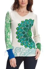 Desigual Ladies Jumper Top 'CATTY' Ribbed V Neck, Ivory&Green, Size  XL/42,UK16
