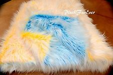Luxurious Long Yellow Teal White Mongolian Frost Faux Fur Throw Comforters Decor
