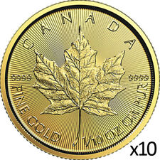10 x 1/10 oz 2019 Gold Maple Leaf Coin - RCM .9999 Coin - Royal Canadian Mint