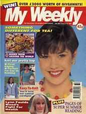 MY WEEKLY MAGAZINE 12/8/1995 LYNN FOULDS WOOD, KNITTING DENIM LOOK CARDIGAN