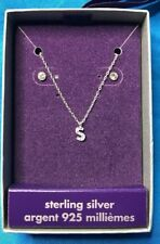 Claire's Sterling Silver Initial Letter S Pendant Necklace And Stud Earrings Set