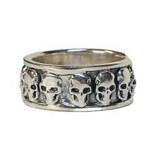 Skull Ring .925  silver Wedding Band Biker Heavy Metal Gothic feeanddave
