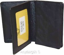 Business card case, leather Credit Card Holder; Fourty Card Case 2 ID windows BN