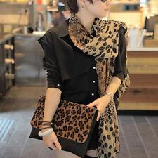 Women Girl Leopard Animal Print Soft Chiffon Shawl Scarf Long Wrap Stole Scarves