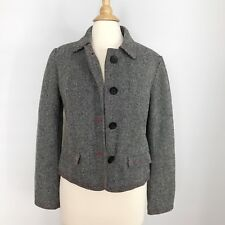 Gap womens 10 Gray long sleeve button down blazer jacket  Size 10 Wool