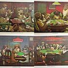 Card Playing Dogs  Poker Print Vintage 3 Different Scenes Coolidge Kaplan Estate