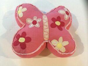 POTTERY BARN Kids Pillow Butterfly Flowers Pink