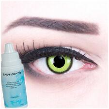 Farbige Crazy Kontaktlinsen Green grün Lunatic für Halloween + Komplettset