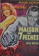 """LA MAISON DES 7 PECHES (SEVEN SINNERS)"" Affiche (John WAYNE, Marlene DIETRICH)"