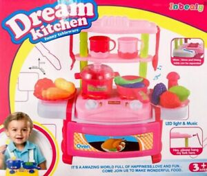 Pretend Play Dream Kitchens Set Up Tableware Cooking Toy Girl's Gift Pink Color