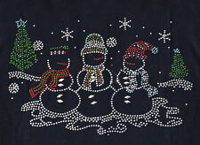 RHINESTONE 3 SNOWMEN CHRISTMAS IRON ON TRANSFER,GREAT ON TANKTOP & SHIRTS