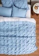 Lazybones Blue Twined Twister Twin Quilt