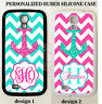 TEAL PINK CHEVRON ANCHOR MONOGRAM PHONE Case For Samsung Galaxy S9 S8 S7 NOTE 9