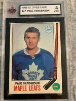 1969-70 O PEE CHEE Paul Henderson Toronto Maple Leafs KSA 4 VGE #47