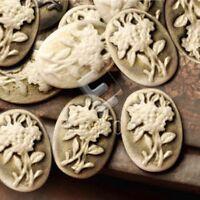 12pcs 18x13mm Flatback Oval Flowers Cameo Resin Cabochons Light Coffee DIY RB706