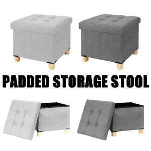 Grey Storage Footstool Ottoman Footrest Makeup Dressing Table Stool Pouffe Seat