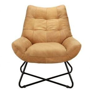 """32"""" W Lounge Chair Soft Top Grain Leather Contemporary Slender Iron Base"""