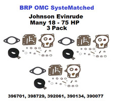 3 Johnson Evinrude Carburetor Carb Kit 18-75 HP 396701, 398729, 392061 BRP OMC