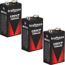3x 9V Lithium Rauchmelder 10 Jahres Block Batterien mit 1200 mAh von kraftmax