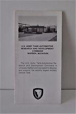 VTG 1978 Taradcom US Army Tank Automotive Test Vehicles Brochure M113A1 N