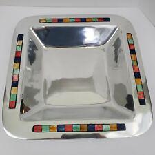 """MIKASA Carnival Square Bowl Tray 14"""" x 14"""" Inlaid Multi-Color Decorative Party"""